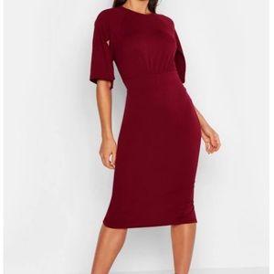 Split Sleeve Detail Wiggle Midi Dress